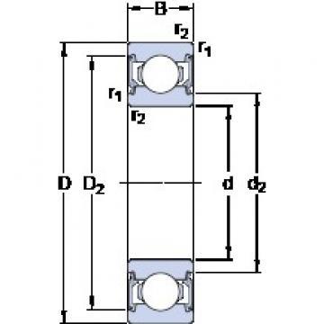6 mm x 19 mm x 6 mm  SKF 626-2RSL Deep groove ball bearing 626-RSL Bearings size: 6x19x6 mm 626-2RSL/C3